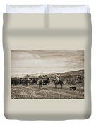 Rounding Up Cattle In Cornville Arizona Sepia Duvet Cover