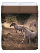 Rounding Up Horses On The Ranch Duvet Cover