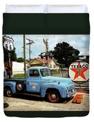 Route 66 - Gas Station With Watercolor Effect Duvet Cover by Frank Romeo