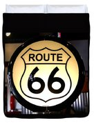 Route 66 Lighted Sign Duvet Cover
