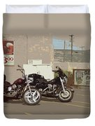 Route 66 Motorcycles With A Dry Brush Effect Duvet Cover