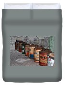 Route 66 Odell Il Gas Station Oil Cans Digital Art Duvet Cover