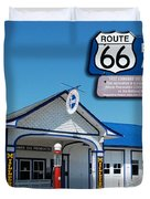 Route 66 Odell Il Gas Station Signage 01 Duvet Cover
