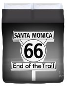 Route 66 Sign In Santa Monica In Black And White Duvet Cover
