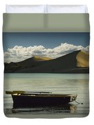 Row Boat On Silver Lake With Dunes Duvet Cover