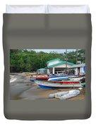 Row Boats On Beach Duvet Cover