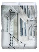 Row Houses On A Snowy Day Duvet Cover by Edward Fielding