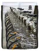 Row Of Bicycles Duvet Cover