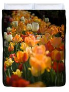 Row Of Colorful Tulips Duvet Cover