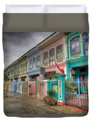 Row Of Historic Colorful Peranakan House Duvet Cover