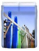 Row Of Kayaks Duvet Cover