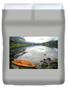 Row Your Boat To The Briksdalsbreen Glacier Duvet Cover