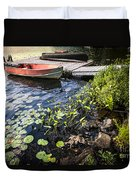 Rowboat At Lake Shore At Dusk Duvet Cover by Elena Elisseeva
