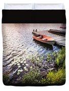 Rowboat At Lake Shore At Sunrise Duvet Cover