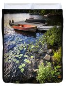Rowboat At Lake Shore Duvet Cover