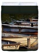 Rowboats At A Lake Duvet Cover