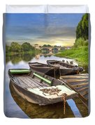 Rowboats On The French Canals Duvet Cover