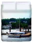 Rowboats Piled At Dock Duvet Cover