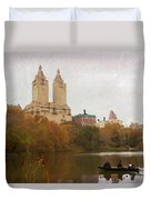Rowers In Central Park Duvet Cover