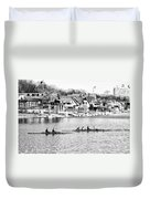Rowing Along The Schuylkill River In Black And White Duvet Cover