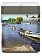 Rowing On The River - Irish Art By Charlie Brock Duvet Cover