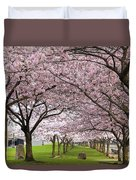 Rows Of Cherry Blossom Trees In Bloom Duvet Cover