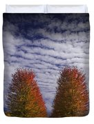 Rows Of Red Autumn Trees With Cirus Clouds Duvet Cover