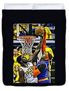 Roy Hibbert Vs Carmelo Anthony Duvet Cover by Florian Rodarte