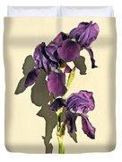 Royal Purple Iris Still Life Duvet Cover
