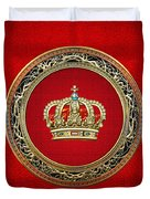 Royal Crown In Gold On Red  Duvet Cover