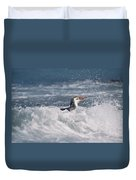 Royal Penguin Swimming In Surf Duvet Cover