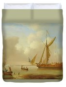 Royal Yacht Becalmed At Anchor Duvet Cover