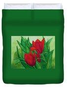 Ruby Red Tulips Duvet Cover