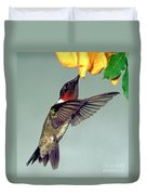 Ruby-throated Hummingbird Male At Flower Duvet Cover