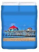 Ruby's Surf City Diner - Huntington Beach Pier Duvet Cover