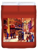 Rue St. Paul Old Montreal Streetscene In Winter Duvet Cover