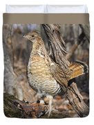 Ruffed Grouse On Mossy Log Duvet Cover