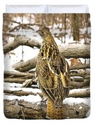 Ruffed Grouse Rear View Duvet Cover