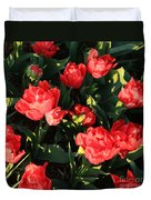 Ruffly Red Tulips Square Duvet Cover