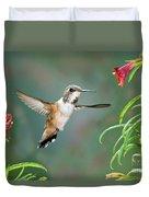 Rufous Hummingbird Female At Monkey Duvet Cover