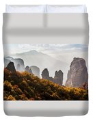 Rugged Cliffs And A Monastery  Meteora Duvet Cover