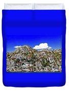 Rugged Cliffside Village Digital Painting Duvet Cover