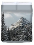 Rugged Mountain Peak With Snow Duvet Cover