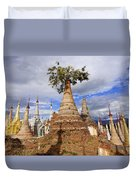 Ruined Pagodas At Shwe Inn Thein Paya Duvet Cover