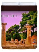 Ruins At Olympus Greece Duvet Cover by John Malone