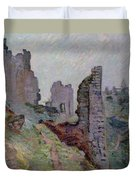 Ruins In The Fog At Crozant Duvet Cover by Jean Baptiste Armand Guillaumin