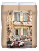Run-down Building In Rethymnon Duvet Cover