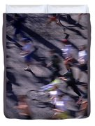 Runners Along Street In A Marathon Blurred And Abstract Duvet Cover
