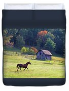 Running Horse And Old Barn Duvet Cover