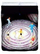 Running On Red Onion Little People On Food Duvet Cover